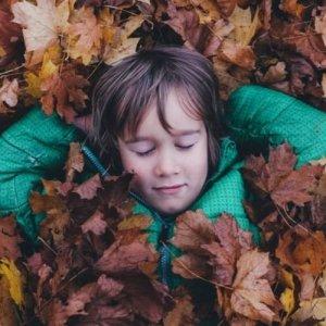 Child Sleeping In Leaves
